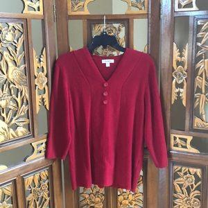 Dressbarn Red 3/4 Sleeve Sweater Size 2X